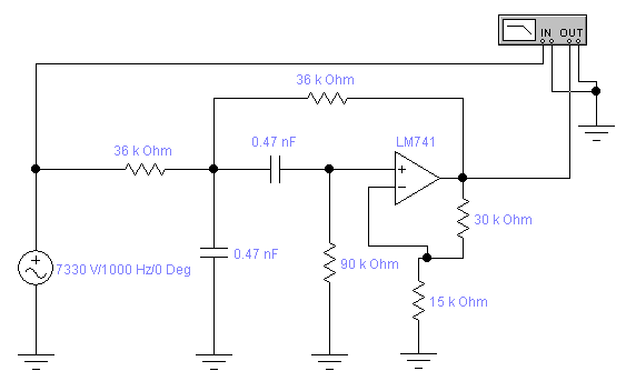 Схема полосового фильтра с