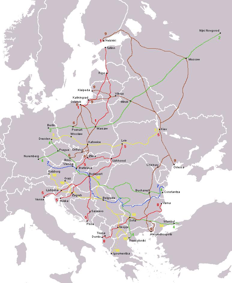 Карта сети транспортных