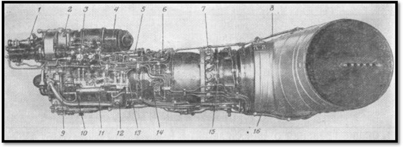 Вид двигателя слева: